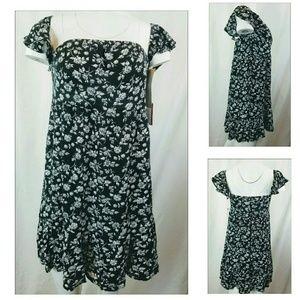 MOSSIMO Sz M Dress Off Shoulder Black Floral